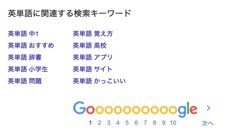 関連するカテゴリーの検索情報が表示されます