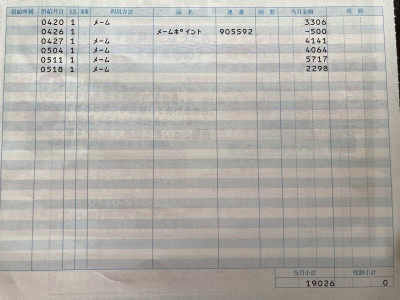 コープ個人宅配の一月の利用料
